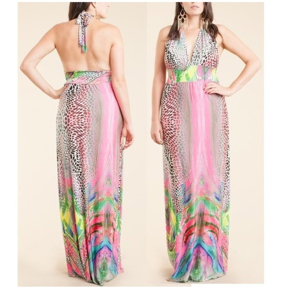 Plus Size Pink Exotic Print Halter Maxi Dress